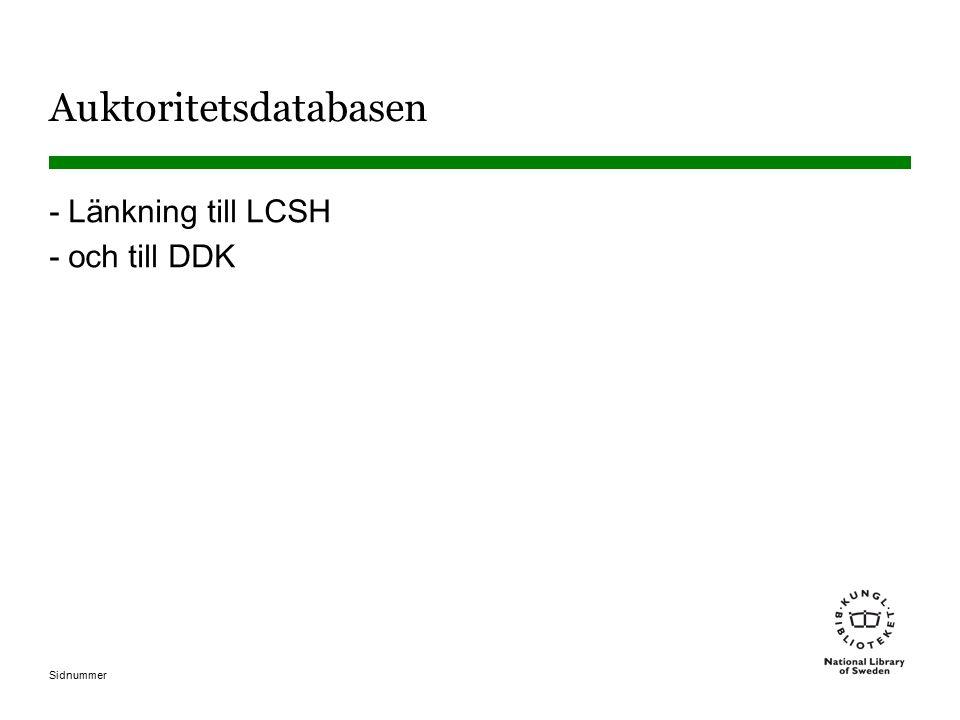 Sidnummer Auktoritetsdatabasen -Länkning till LCSH -och till DDK