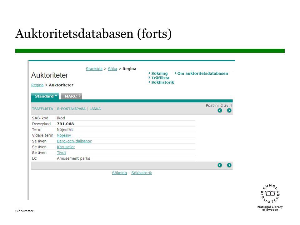 Sidnummer Auktoritetsdatabasen (forts)