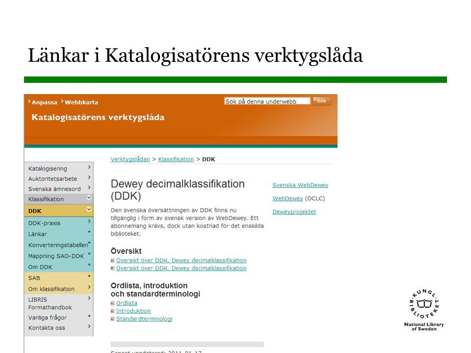 Sidnummer Länkar på Deweyprojektets webbsida