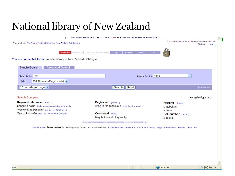 Sidnummer National library of New Zealand