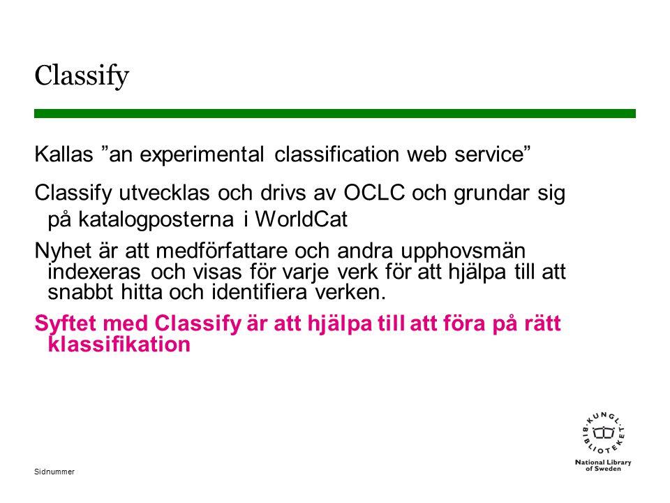 Sidnummer Classify Kallas an experimental classification web service Classify utvecklas och drivs av OCLC och grundar sig på katalogposterna i WorldCat Nyhet är att medförfattare och andra upphovsmän indexeras och visas för varje verk för att hjälpa till att snabbt hitta och identifiera verken.