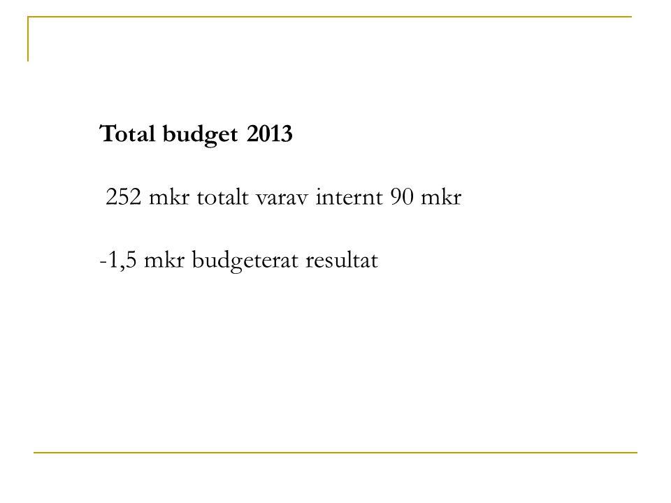 Total budget 2013 252 mkr totalt varav internt 90 mkr -1,5 mkr budgeterat resultat