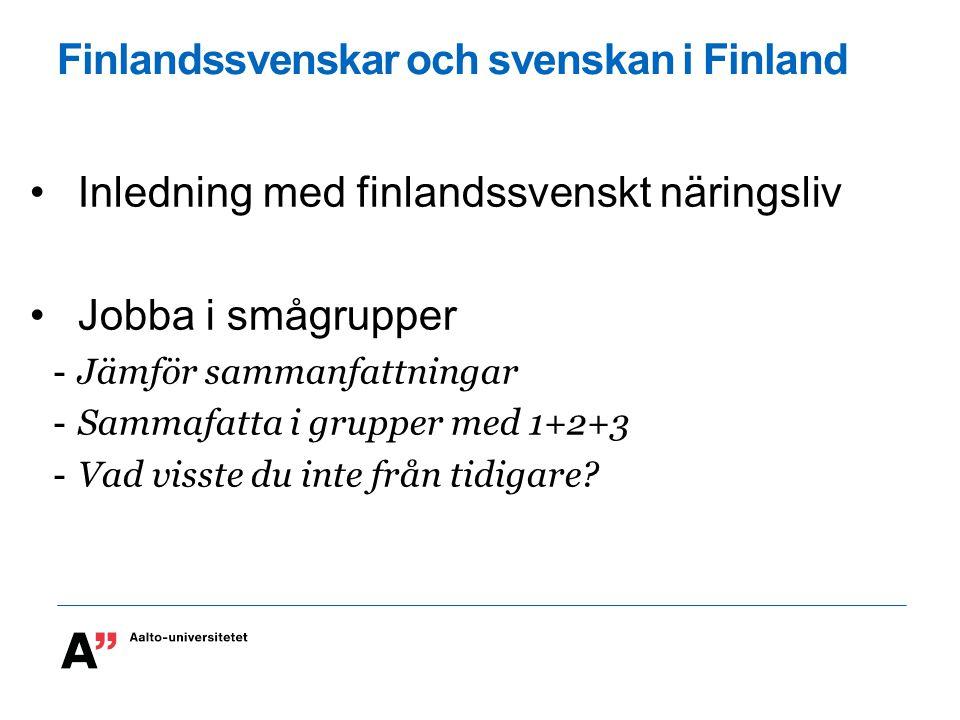 Finlandssvenskar och svenskan i Finland Inledning med finlandssvenskt näringsliv Jobba i smågrupper -Jämför sammanfattningar -Sammafatta i grupper med