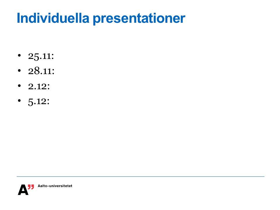 Individuella presentationer 25.11: 28.11: 2.12: 5.12: