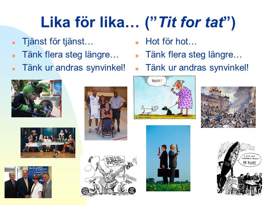 """Lika för lika… (""""Tit for tat"""") n Tjänst för tjänst… n Tänk flera steg längre… n Tänk ur andras synvinkel! n Hot för hot… n Tänk flera steg längre… n T"""