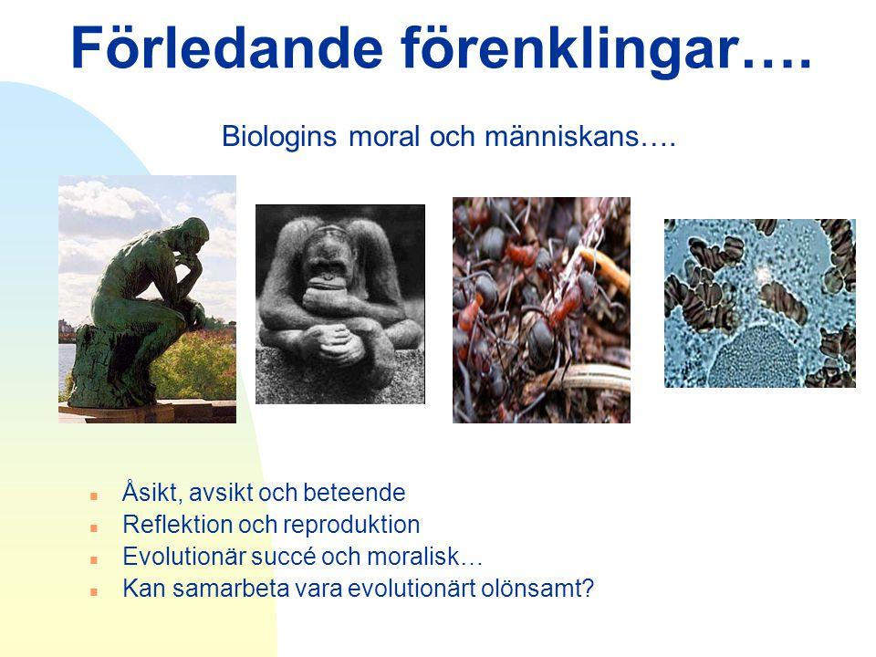 Förledande förenklingar…. Biologins moral och människans…. n Åsikt, avsikt och beteende n Reflektion och reproduktion n Evolutionär succé och moralisk