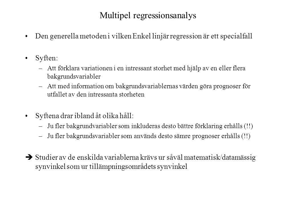 Multipel regressionsanalys Den generella metoden i vilken Enkel linjär regression är ett specialfall Syften: –Att förklara variationen i en intressant storhet med hjälp av en eller flera bakgrundsvariabler –Att med information om bakgrundsvariablernas värden göra prognoser för utfallet av den intressanta storheten Syftena drar ibland åt olika håll: –Ju fler bakgrundvariabler som inkluderas desto bättre förklaring erhålls (!!) –Ju fler bakgrundsvariabler som används desto sämre prognoser erhålls (!!)  Studier av de enskilda variablerna krävs ur såväl matematisk/datamässig synvinkel som ur tillämpningsområdets synvinkel
