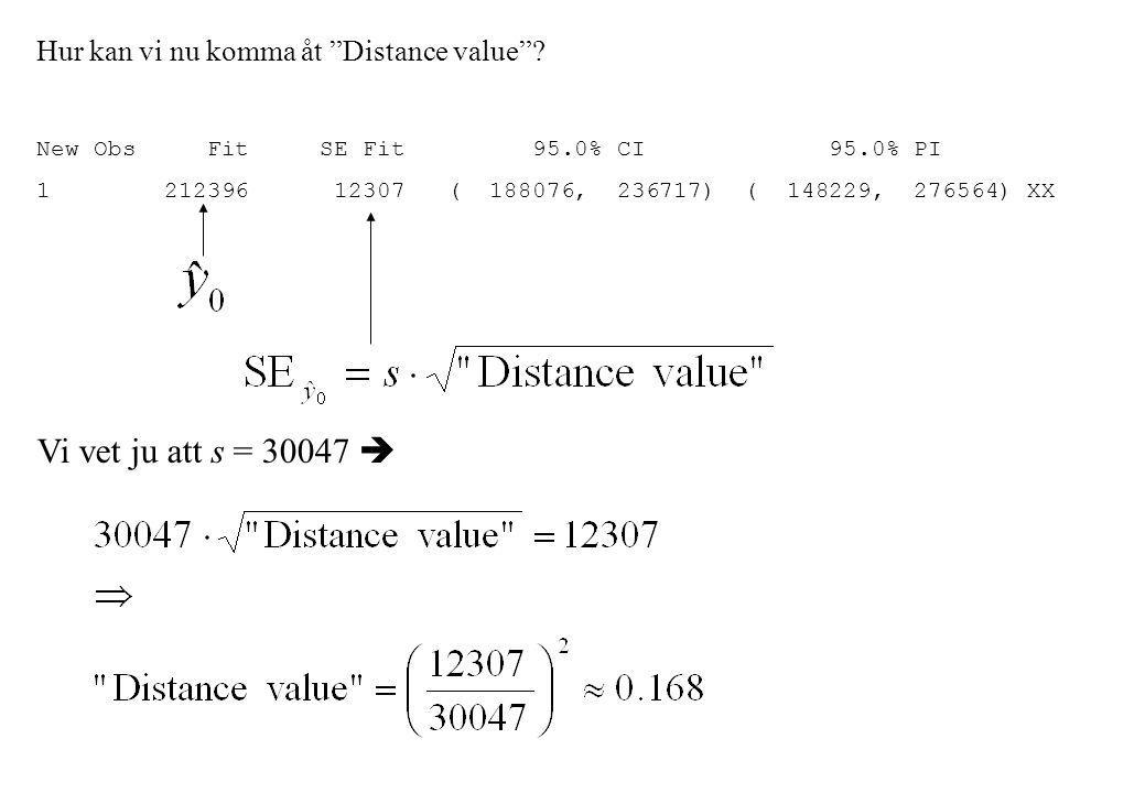 Hur kan vi nu komma åt Distance value .