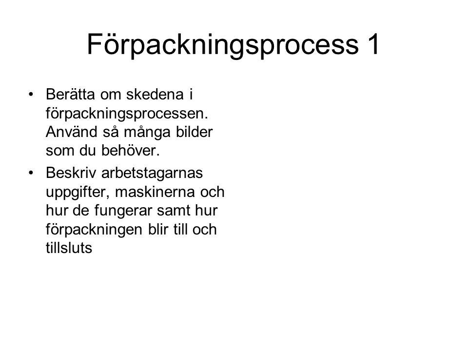 Förpackningsprocess 1 Berätta om skedena i förpackningsprocessen.
