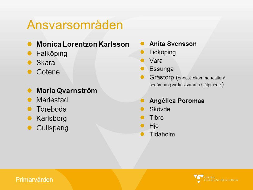 Primärvården Ansvarsområden Monica Lorentzon Karlsson Falköping Skara Götene Maria Qvarnström Mariestad Töreboda Karlsborg Gullspång Anita Svensson Li