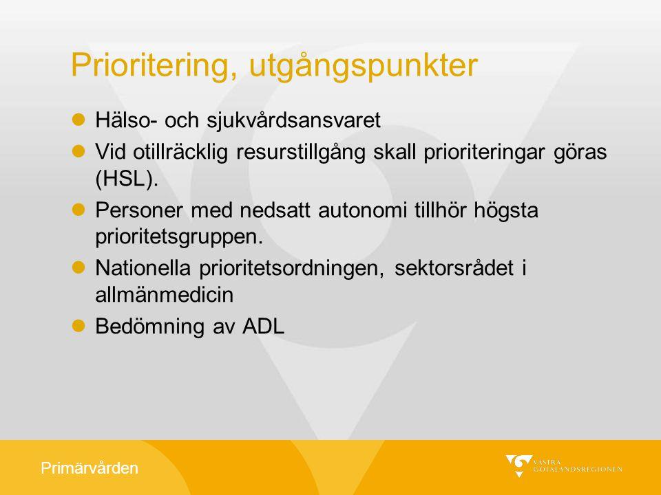 Primärvården Prioritering, utgångspunkter Hälso- och sjukvårdsansvaret Vid otillräcklig resurstillgång skall prioriteringar göras (HSL). Personer med