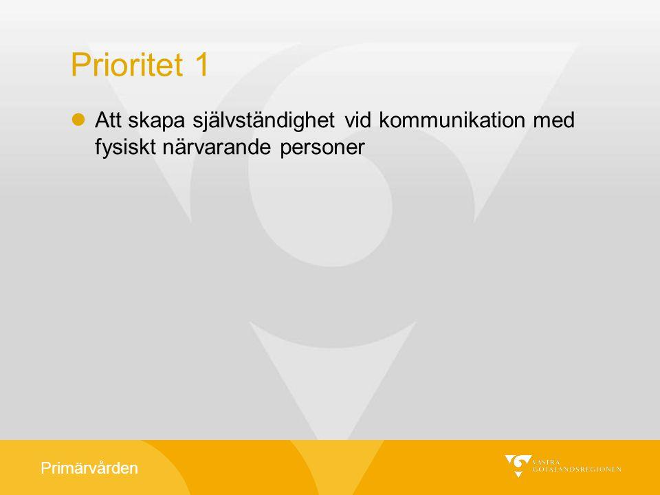 Primärvården Prioritet 1 Att skapa självständighet vid kommunikation med fysiskt närvarande personer