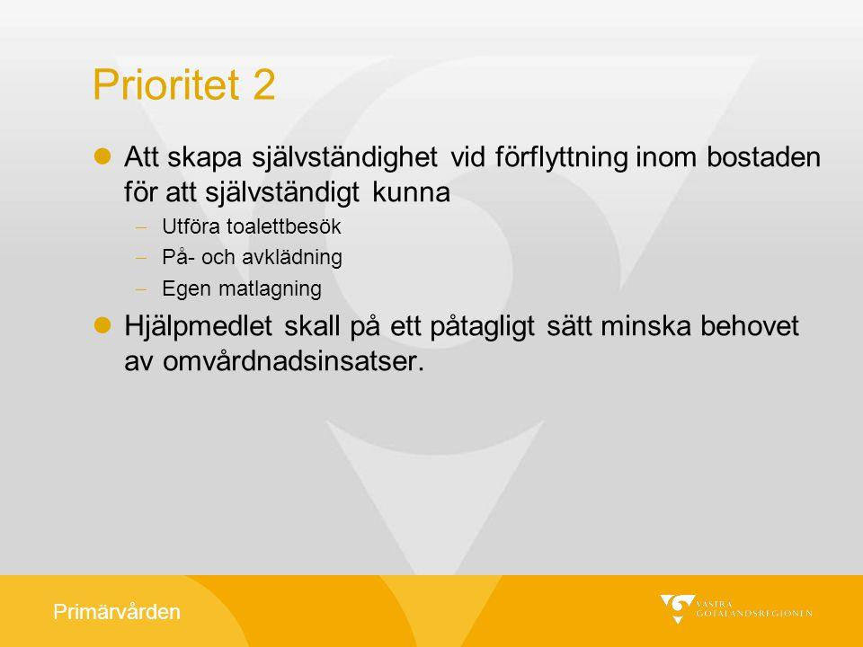 Primärvården Prioritet 2 Att skapa självständighet vid förflyttning inom bostaden för att självständigt kunna  Utföra toalettbesök  På- och avklädni