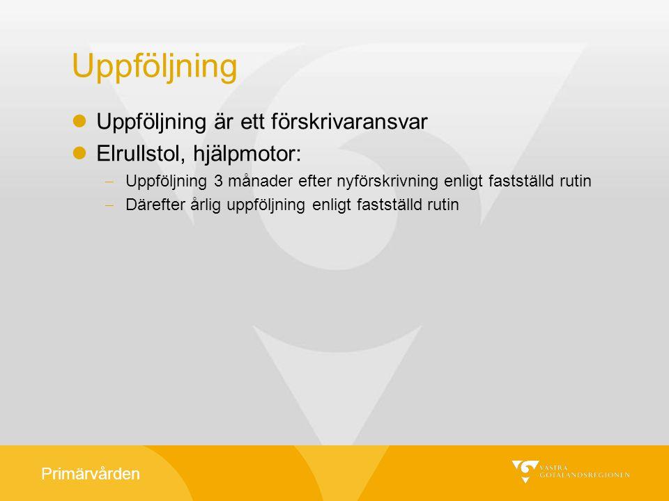 Primärvården Uppföljning Uppföljning är ett förskrivaransvar Elrullstol, hjälpmotor:  Uppföljning 3 månader efter nyförskrivning enligt fastställd ru