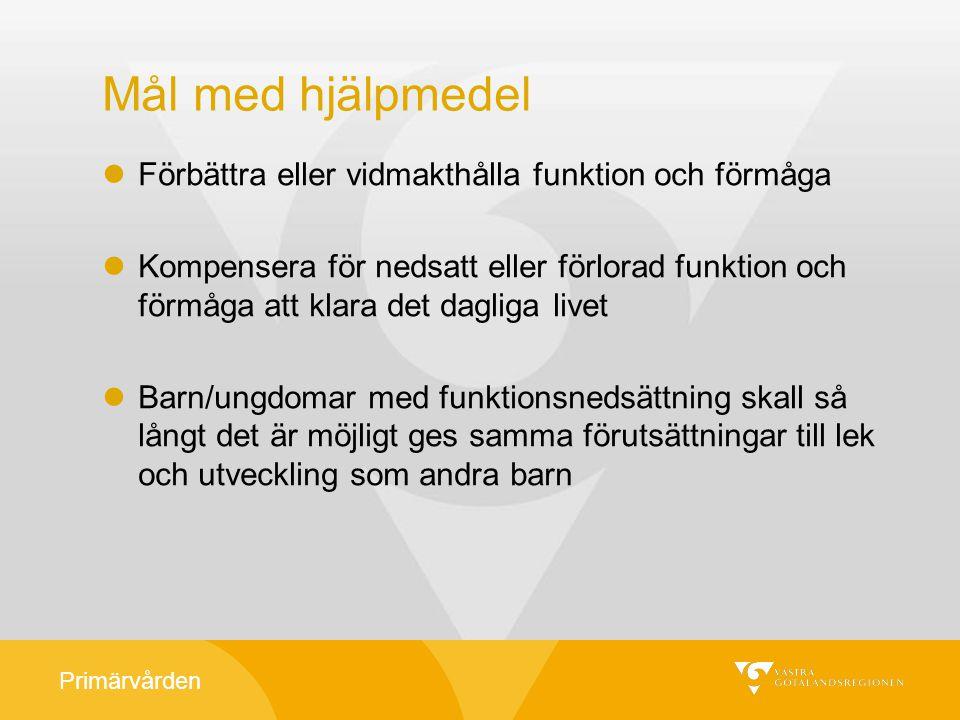 Primärvården Primärvårdens hjälpmedelsgrupp Monica Lorentzon Karlsson, hjälpm.samordnare, ordf.
