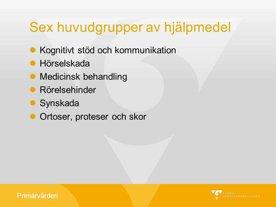 Primärvården Utgångspunkt för förskrivning Hjälpmedlet är en del av en habiliterings-, rehabiliterings- och vårdinsats En behovsbedömning skett utifrån en helhetsbedömning av personens situation Gemensamma riktlinjer i Västra Götaland Lokala rutiner