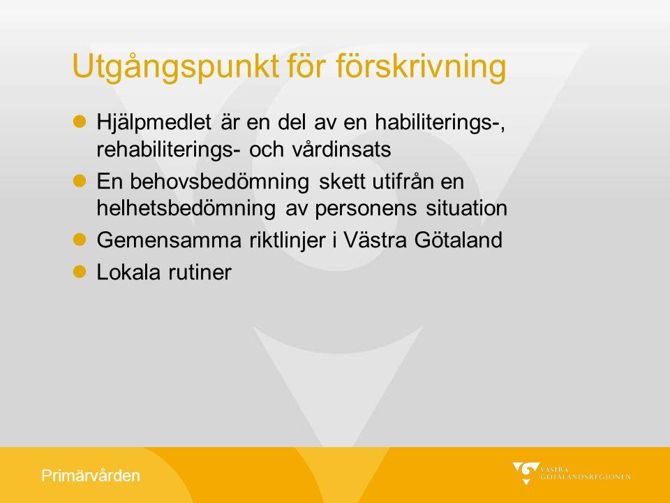Primärvården Kostnadsansvar All förskrivning inom Västra Götaland bygger på att kostnadsansvarig har godkänt förskrivningen.