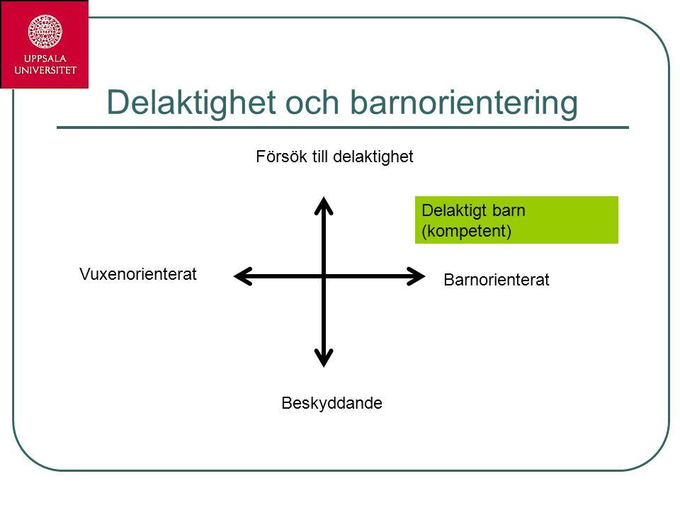 Delaktighet och barnorientering Försök till delaktighet Delaktigt barn (kompetent) Beskyddande Barnorienterat Vuxenorienterat
