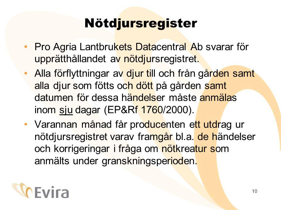 10 Nötdjursregister Pro Agria Lantbrukets Datacentral Ab svarar för upprätthållandet av nötdjursregistret.