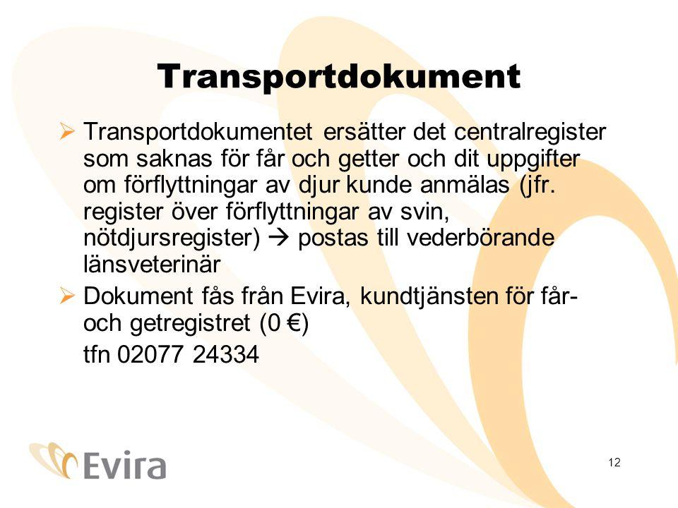 12 Transportdokument  Transportdokumentet ersätter det centralregister som saknas för får och getter och dit uppgifter om förflyttningar av djur kunde anmälas (jfr.