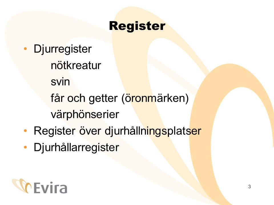 3 Register Djurregister nötkreatur svin får och getter (öronmärken) värphönserier Register över djurhållningsplatser Djurhållarregister