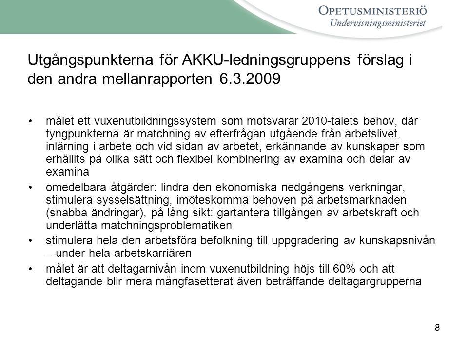 8 Utgångspunkterna för AKKU-ledningsgruppens förslag i den andra mellanrapporten 6.3.2009 målet ett vuxenutbildningssystem som motsvarar 2010-talets behov, där tyngpunkterna är matchning av efterfrågan utgående från arbetslivet, inlärning i arbete och vid sidan av arbetet, erkännande av kunskaper som erhållits på olika sätt och flexibel kombinering av examina och delar av examina omedelbara åtgärder: lindra den ekonomiska nedgångens verkningar, stimulera sysselsättning, imöteskomma behoven på arbetsmarknaden (snabba ändringar), på lång sikt: gartantera tillgången av arbetskraft och underlätta matchningsproblematiken stimulera hela den arbetsföra befolkning till uppgradering av kunskapsnivån – under hela arbetskarriären målet är att deltagarnivån inom vuxenutbildning höjs till 60% och att deltagande blir mera mångfasetterat även beträffande deltagargrupperna