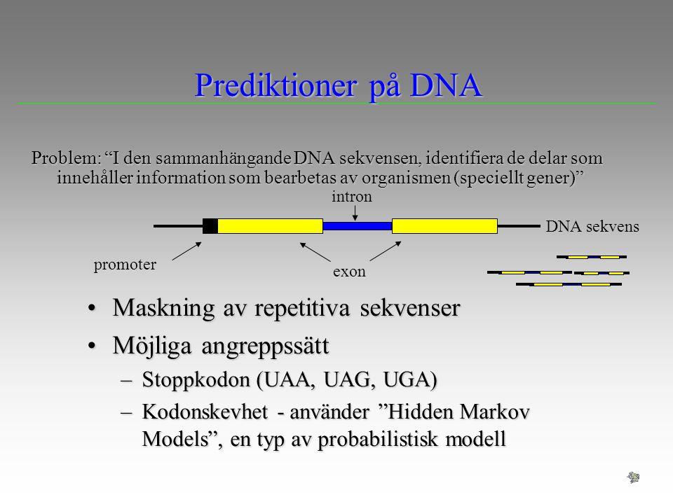 """Prediktioner på DNA Problem: """"I den sammanhängande DNA sekvensen, identifiera de delar som innehåller information som bearbetas av organismen (speciel"""