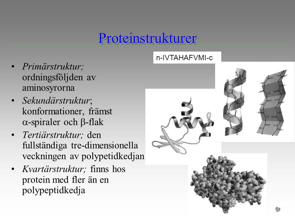 ProteinstrukturerProteinstrukturer n-IVTAHAFVMI-c Primärstruktur; ordningsföljden av aminosyrorna Sekundärstruktur; konformationer, främst  -spiraler