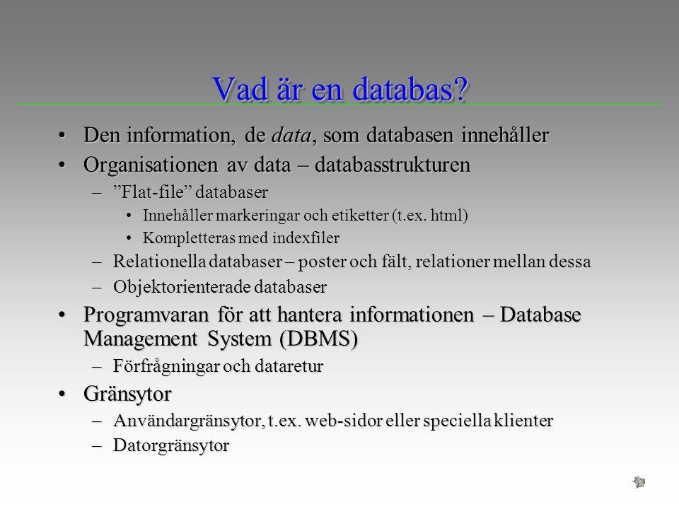 Vad är en databas? Den information, de data, som databasen innehållerDen information, de data, som databasen innehåller Organisationen av data – datab