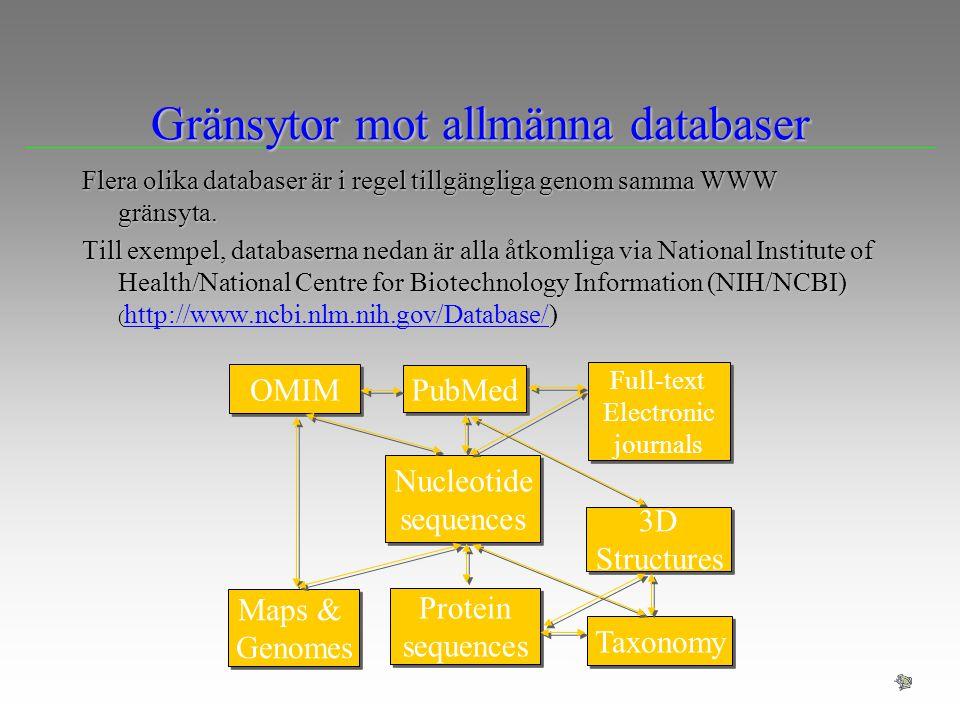Gränsytor mot allmänna databaser Flera olika databaser är i regel tillgängliga genom samma WWW gränsyta. Till exempel, databaserna nedan är alla åtkom