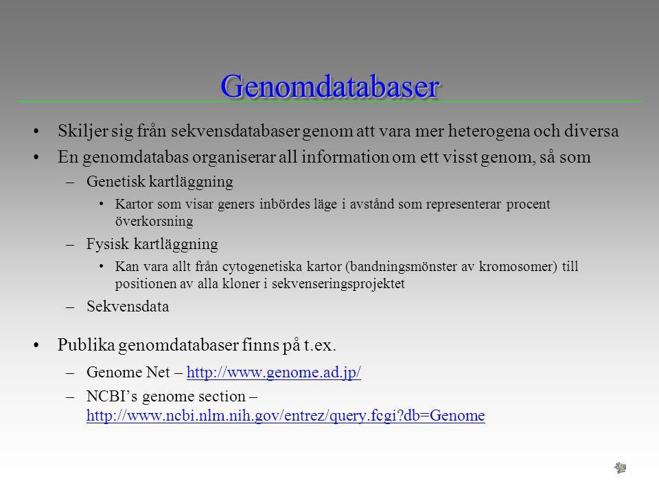 GenomdatabaserGenomdatabaser Skiljer sig från sekvensdatabaser genom att vara mer heterogena och diversa En genomdatabas organiserar all information o