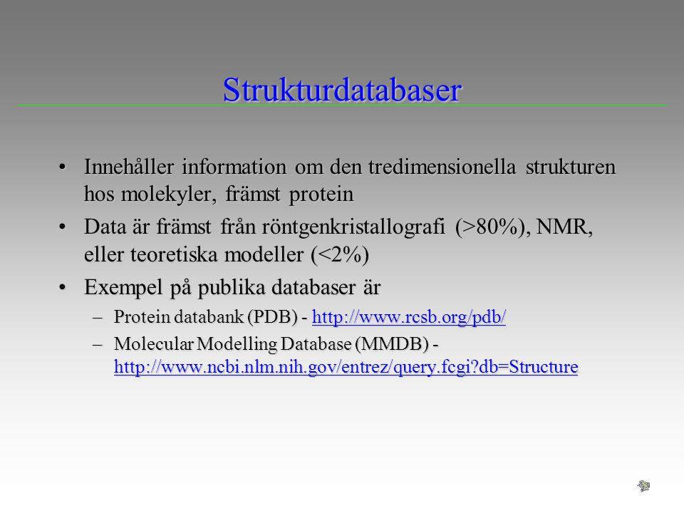 Strukturdatabaser Innehåller information om den tredimensionella strukturen hos molekyler, främst proteinInnehåller information om den tredimensionell