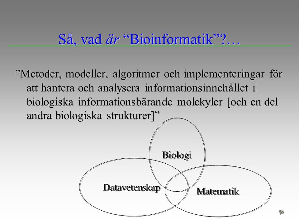 Prediktioner på DNA Problem: I den sammanhängande DNA sekvensen, identifiera de delar som innehåller information som bearbetas av organismen (speciellt gener) Maskning av repetitiva sekvenserMaskning av repetitiva sekvenser Möjliga angreppssättMöjliga angreppssätt –Stoppkodon (UAA, UAG, UGA) –Kodonskevhet - använder Hidden Markov Models , en typ av probabilistisk modell intron exon promoter DNA sekvens