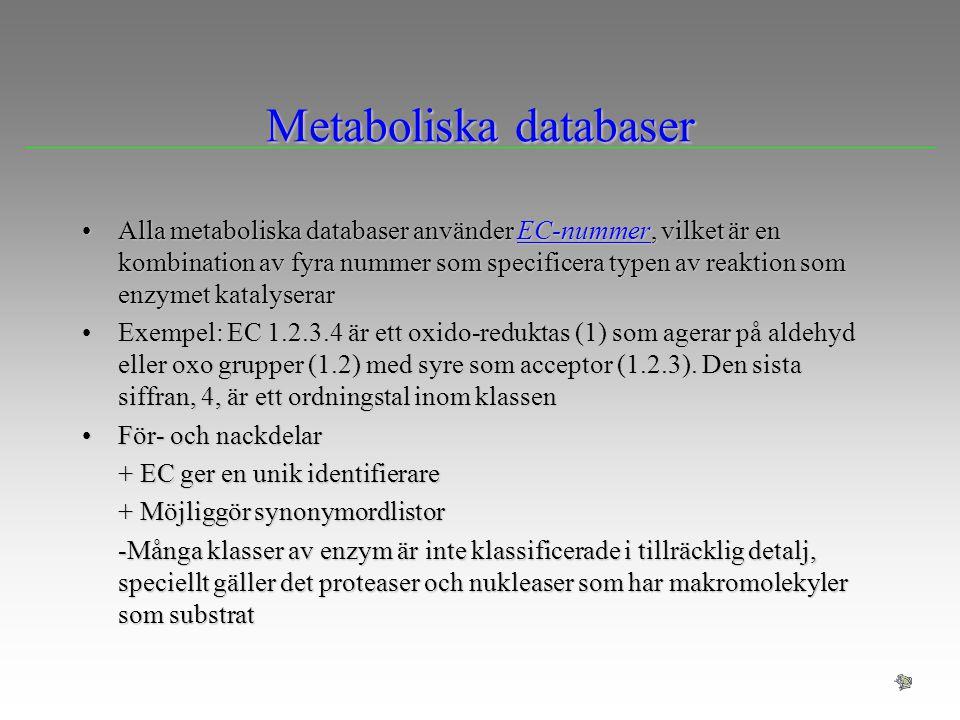 Alla metaboliska databaser använder EC-nummer, vilket är en kombination av fyra nummer som specificera typen av reaktion som enzymet katalyserarAlla m