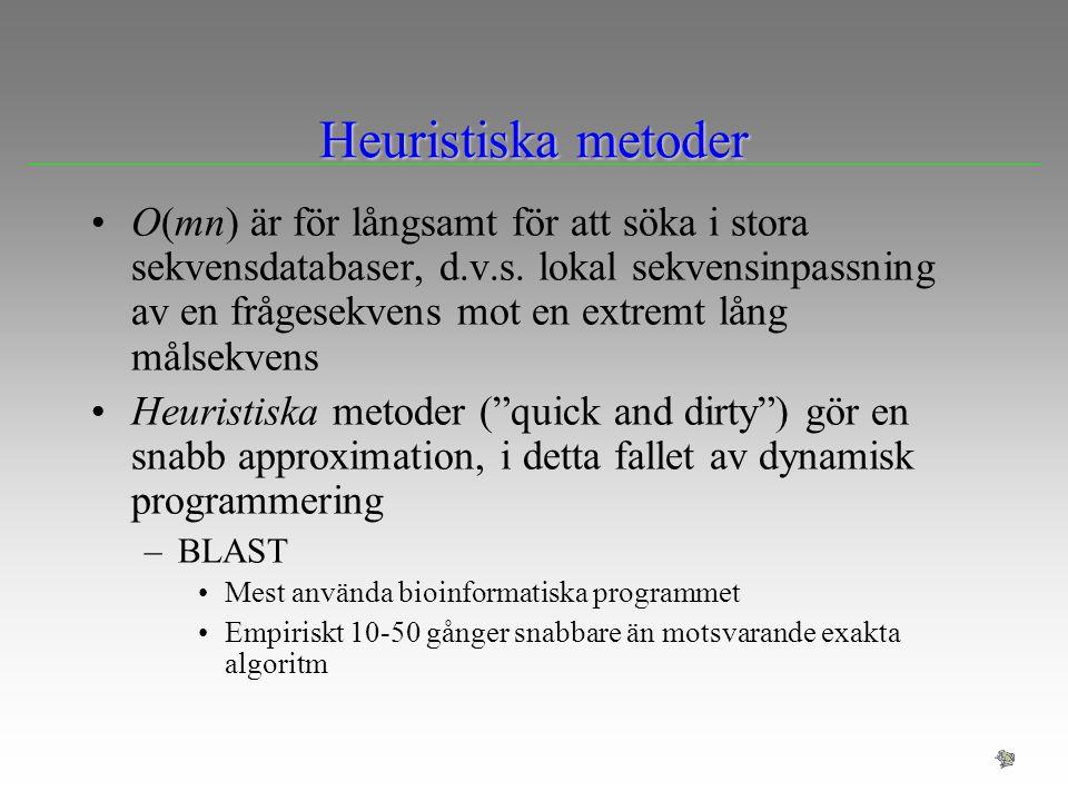 Heuristiska metoder O(mn) är för långsamt för att söka i stora sekvensdatabaser, d.v.s. lokal sekvensinpassning av en frågesekvens mot en extremt lång