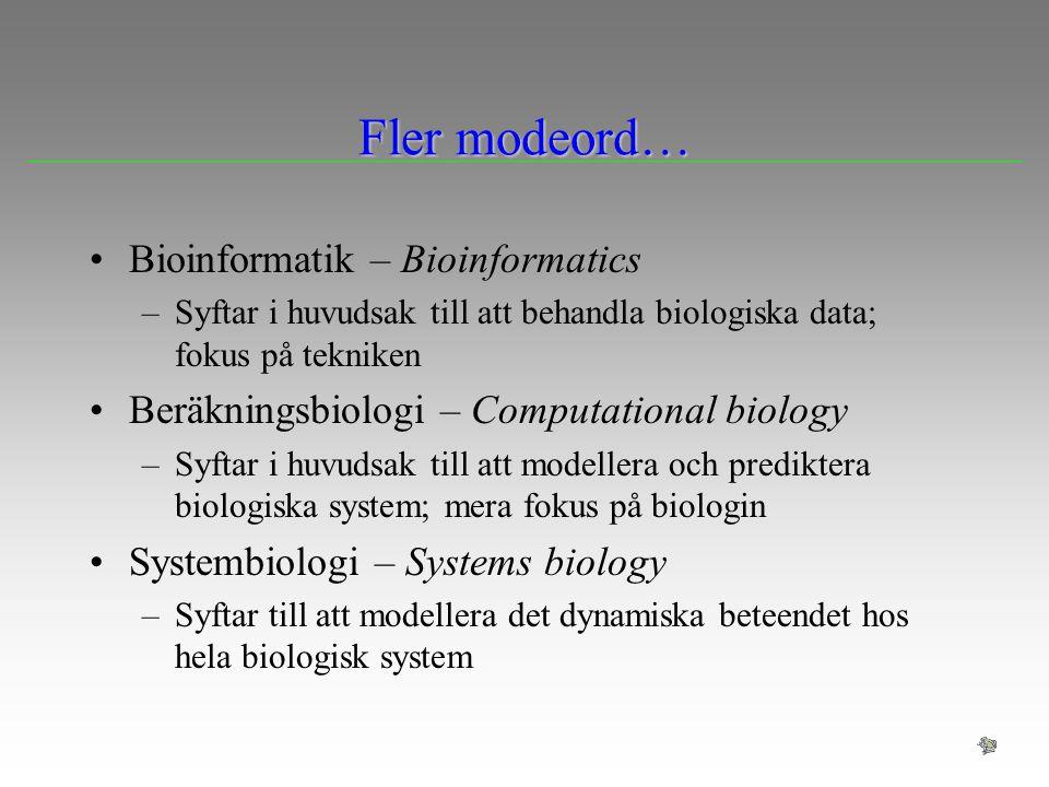 Sekvensinpassning Sekvensinpassning (alignment) är en process som syftar till att föreslå en hypotes om homologi mellan positioner i (preliminärt) homologa sekvenser Detta kan vara ett (nödvändigt) steg för att beräkna likhet mellan sekvenser, som i sin tur används för att föreslå hypoteser homologi mellan sekvenser (genkopior) Jämförelse av sekvenser och sökning efter homologa sekvenser i databaser –Parvis sekvensinpassning Identifiering av homologa baspar för fylogenetisk (genealogisk) analys –Multipel sekvensinpassning