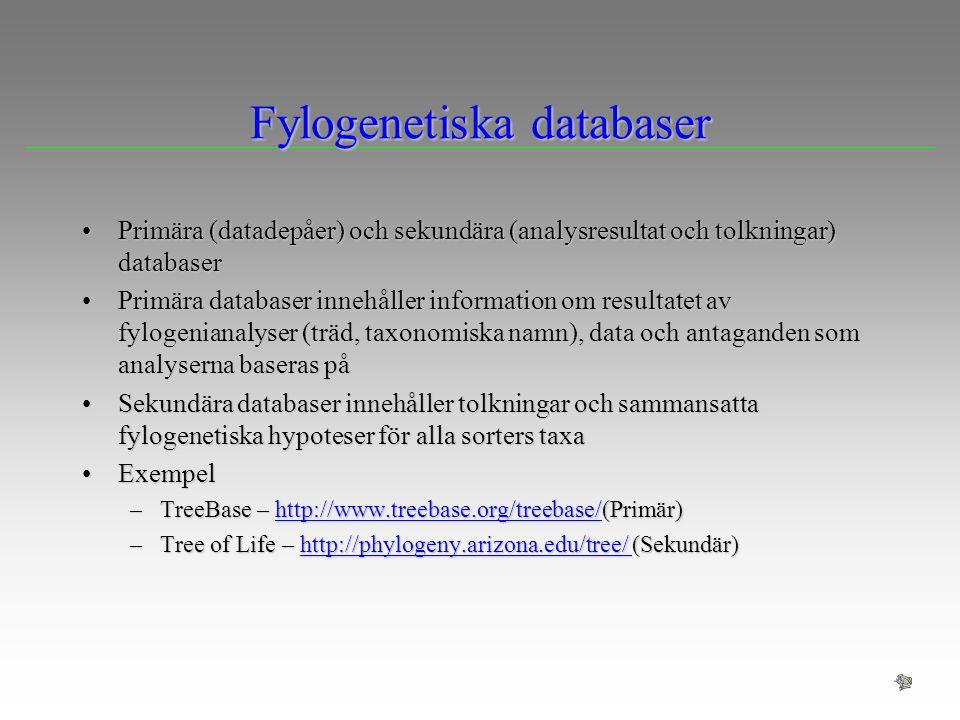 Fylogenetiska databaser Primära (datadepåer) och sekundära (analysresultat och tolkningar) databaserPrimära (datadepåer) och sekundära (analysresultat