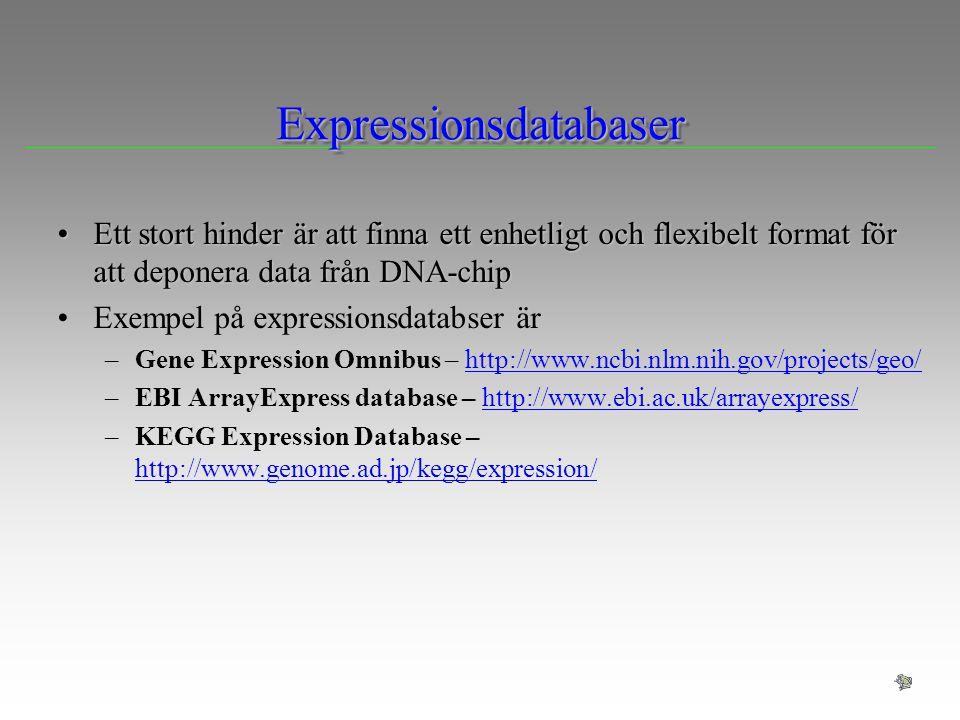ExpressionsdatabaserExpressionsdatabaser Ett stort hinder är att finna ett enhetligt och flexibelt format för att deponera data från DNA-chipEtt stort