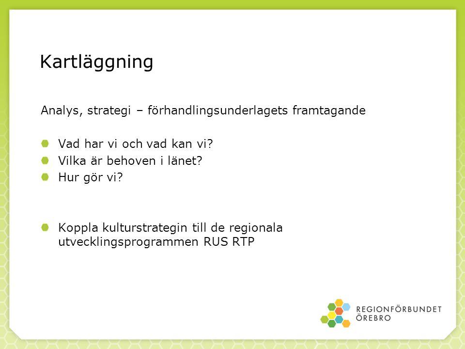 Kartläggning Analys, strategi – förhandlingsunderlagets framtagande Vad har vi och vad kan vi.