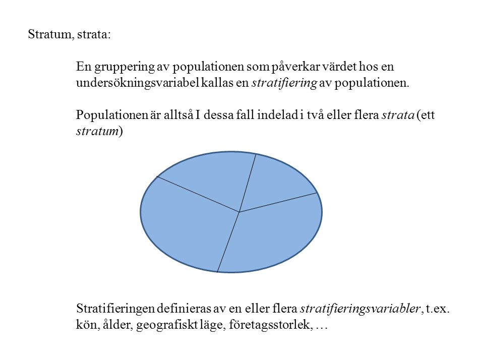 Stratum, strata: En gruppering av populationen som påverkar värdet hos en undersökningsvariabel kallas en stratifiering av populationen. Populationen