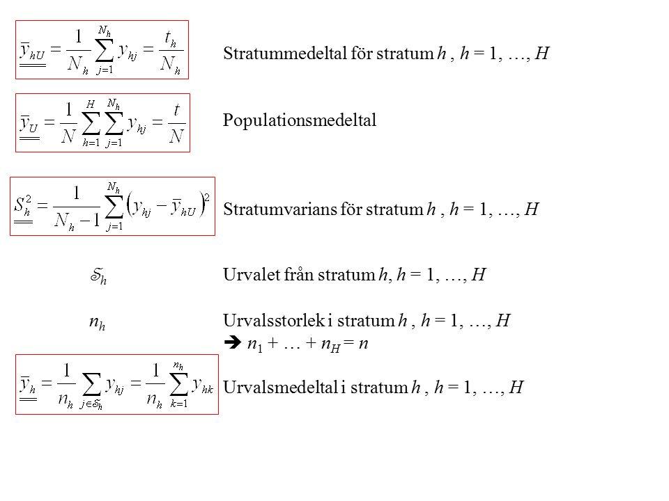 Stratummedeltal för stratum h, h = 1, …, H Populationsmedeltal Stratumvarians för stratum h, h = 1, …, H S h Urvalet från stratum h, h = 1, …, H n h Urvalsstorlek i stratum h, h = 1, …, H  n 1 + … + n H = n Urvalsmedeltal i stratum h, h = 1, …, H