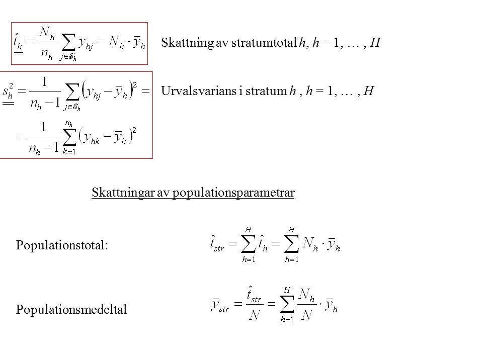 Skattning av stratumtotal h, h = 1, …, H Urvalsvarians i stratum h, h = 1, …, H Skattningar av populationsparametrar Populationstotal: Populationsmede