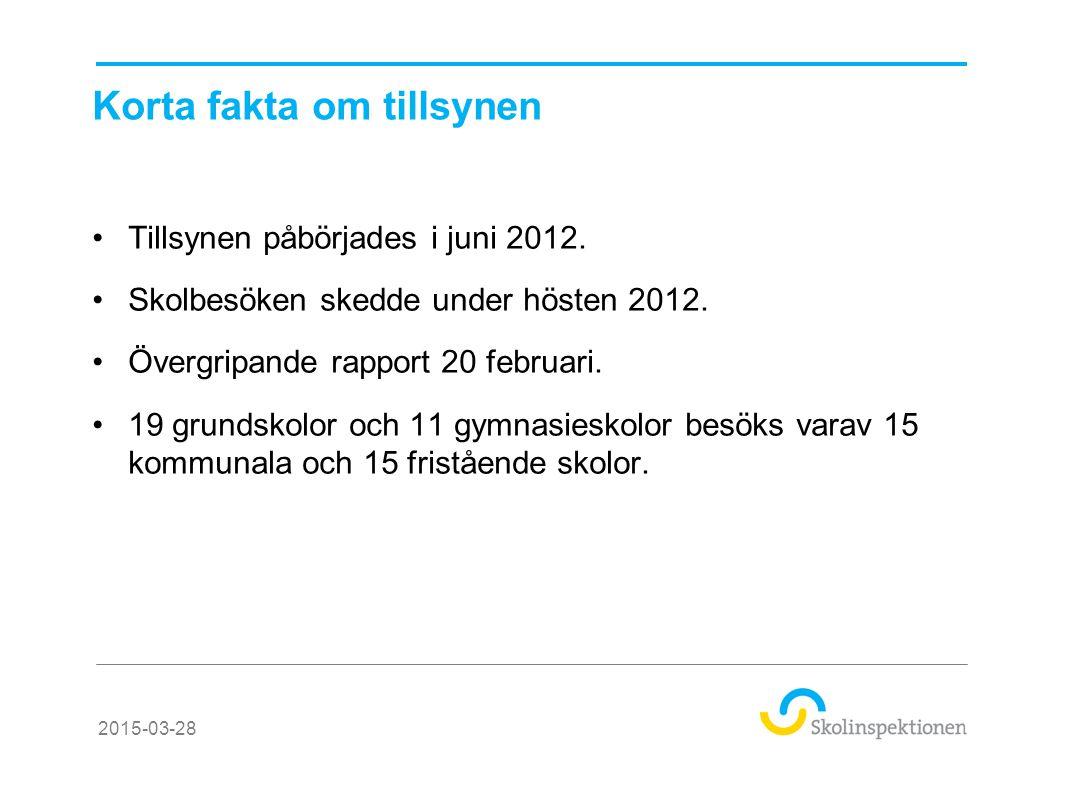 Korta fakta om tillsynen Tillsynen påbörjades i juni 2012. Skolbesöken skedde under hösten 2012. Övergripande rapport 20 februari. 19 grundskolor och