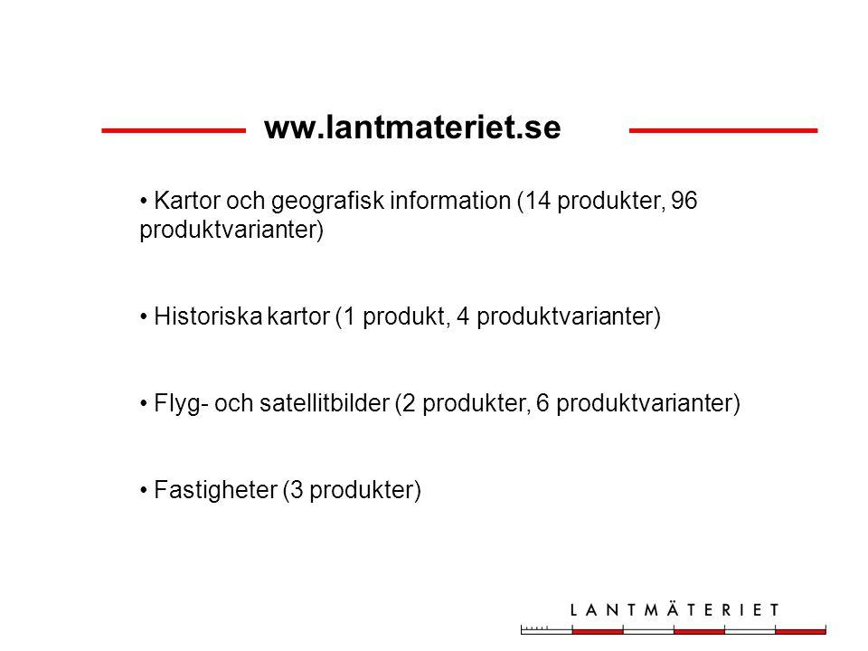 ww.lantmateriet.se Kartor och geografisk information (14 produkter, 96 produktvarianter) Historiska kartor (1 produkt, 4 produktvarianter) Flyg- och satellitbilder (2 produkter, 6 produktvarianter) Fastigheter (3 produkter)