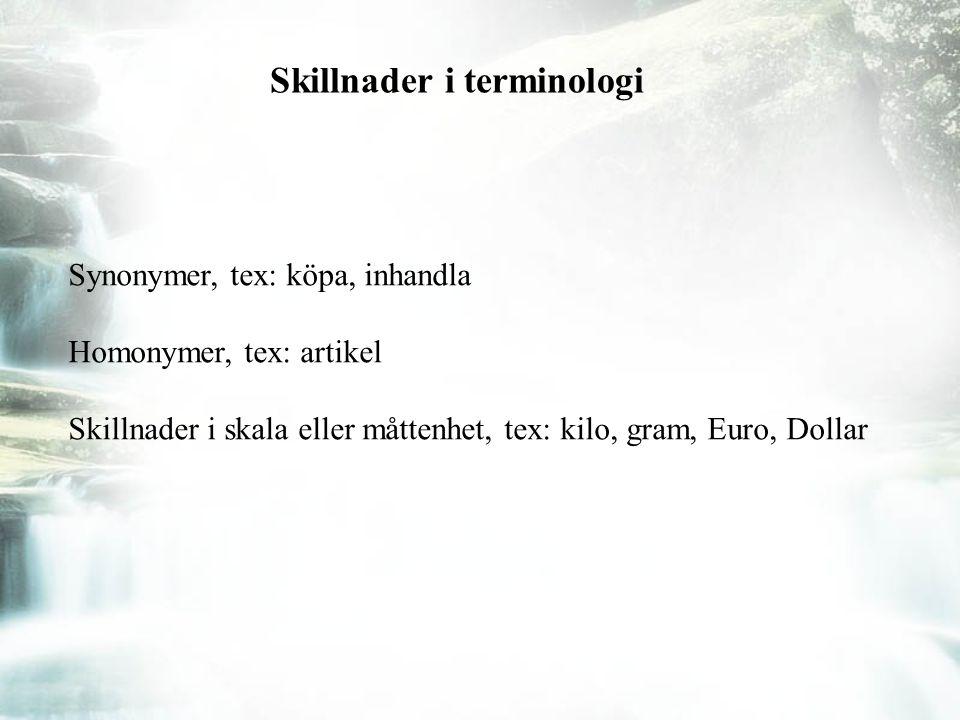 Skillnader i terminologi Synonymer, tex: köpa, inhandla Homonymer, tex: artikel Skillnader i skala eller måttenhet, tex: kilo, gram, Euro, Dollar