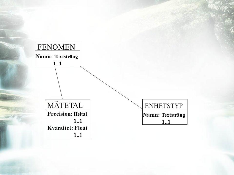 Precision: Heltal 1..1 Kvantitet: Float 1..1 ENHETSTYP Namn: Textsträng 1..1 MÄTETAL FENOMEN Namn: Textsträng 1..1
