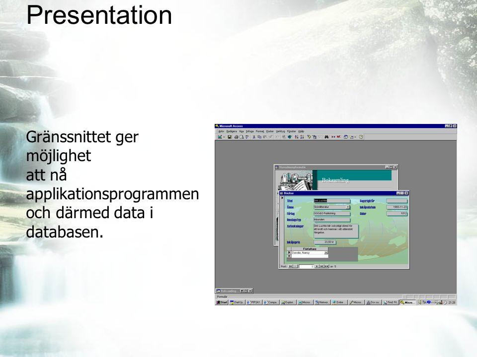 Presentation Gränssnittet ger möjlighet att nå applikationsprogrammen och därmed data i databasen.