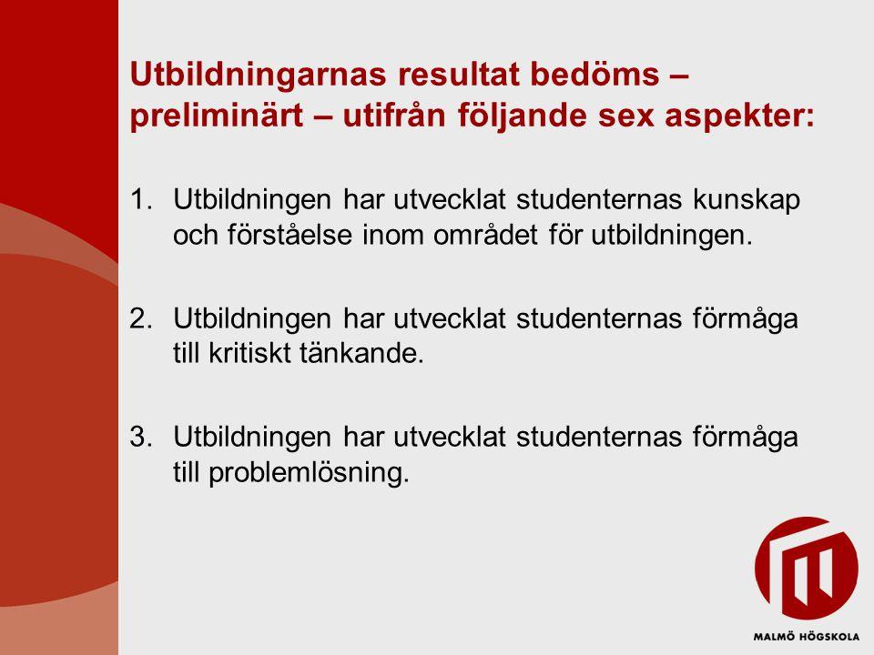 Utbildningarnas resultat bedöms – preliminärt – utifrån följande sex aspekter: 1.Utbildningen har utvecklat studenternas kunskap och förståelse inom området för utbildningen.