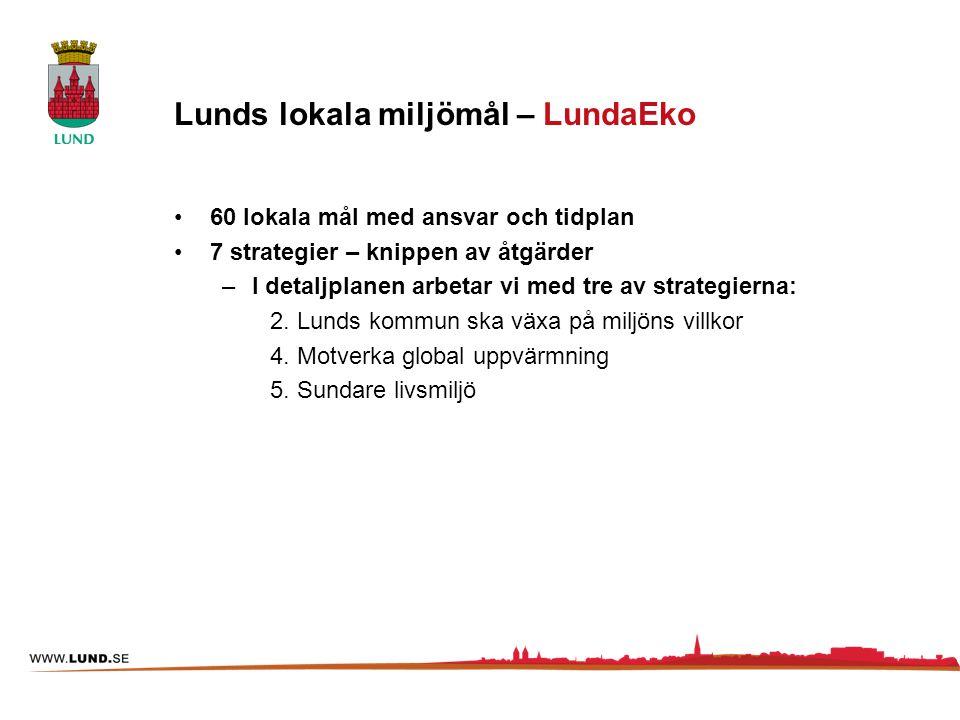 Lunds lokala miljömål – LundaEko 60 lokala mål med ansvar och tidplan 7 strategier – knippen av åtgärder –I detaljplanen arbetar vi med tre av strateg