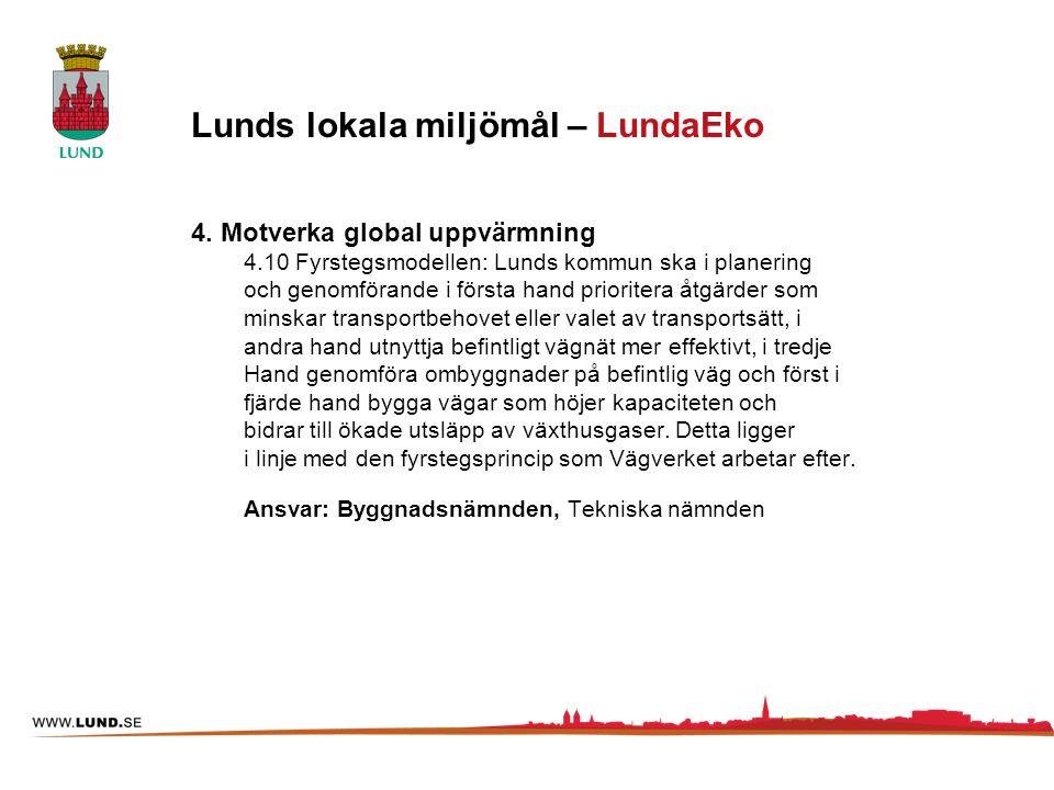 4. Motverka global uppvärmning 4.10 Fyrstegsmodellen: Lunds kommun ska i planering och genomförande i första hand prioritera åtgärder som minskar tran